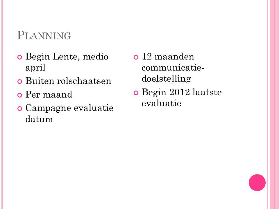 P LANNING Begin Lente, medio april Buiten rolschaatsen Per maand Campagne evaluatie datum 12 maanden communicatie- doelstelling Begin 2012 laatste evaluatie