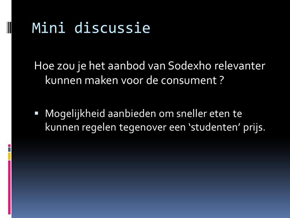 Mini discussie Hoe zou je het aanbod van Sodexho relevanter kunnen maken voor de consument ?  Mogelijkheid aanbieden om sneller eten te kunnen regele