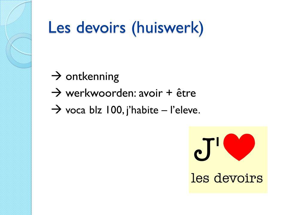 Les devoirs (huiswerk)  ontkenning  werkwoorden: avoir + être  voca blz 100, j'habite – l'eleve.