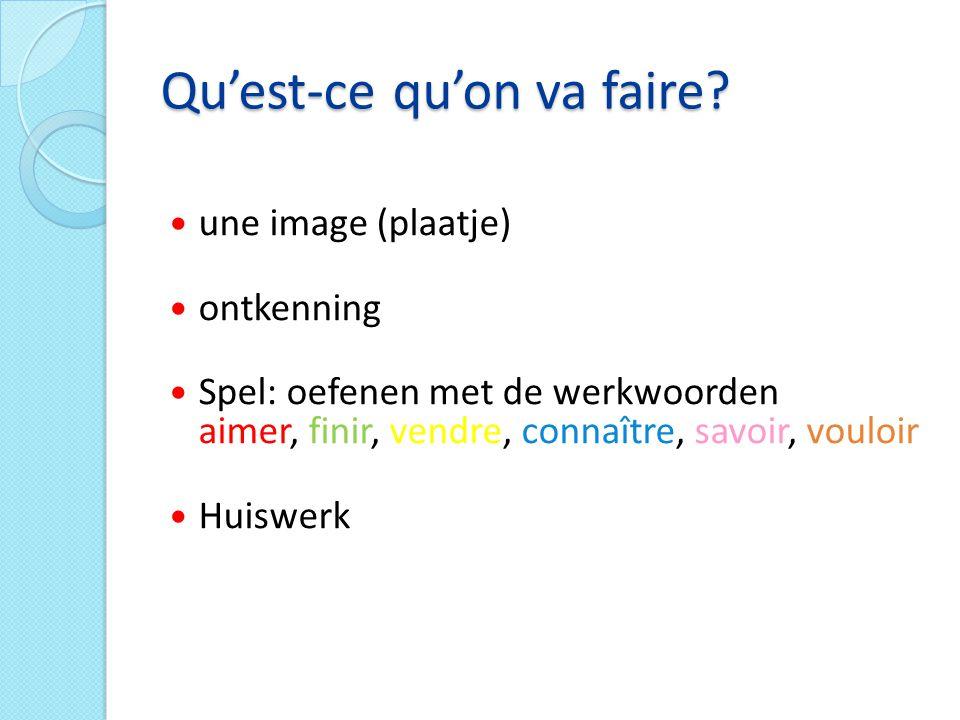 1) In groepjes van 3 2) 1 leerling is jurylid 2 leerlingen spelen het spel 3) Het jurylid heeft een werkblad met vragen+antwoorden 4) De 2 spelers hebben -1 wit stapeltje met: je-tu-il/elle/on-nous-vous-ils/elles -6 gekleurde stapeltjes met de 6 werkwoorden 5) Het jurylid stelt de eerste vraag, bijvoorbeeld: wat is 'jij houdt van' 6) De 2 spelers zoeken eerst 'tu' en daarna 'aimes' 7) Degene die de combinatie 'tu aimes' als eerste heeft gemaakt, krijgt een punt.