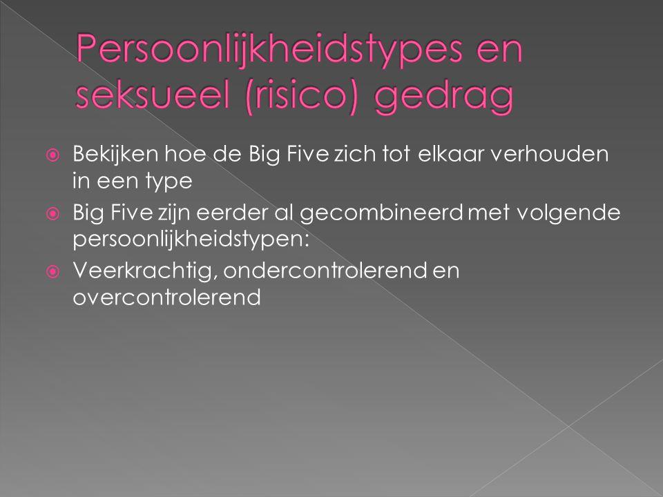  Bekijken hoe de Big Five zich tot elkaar verhouden in een type  Big Five zijn eerder al gecombineerd met volgende persoonlijkheidstypen:  Veerkrac