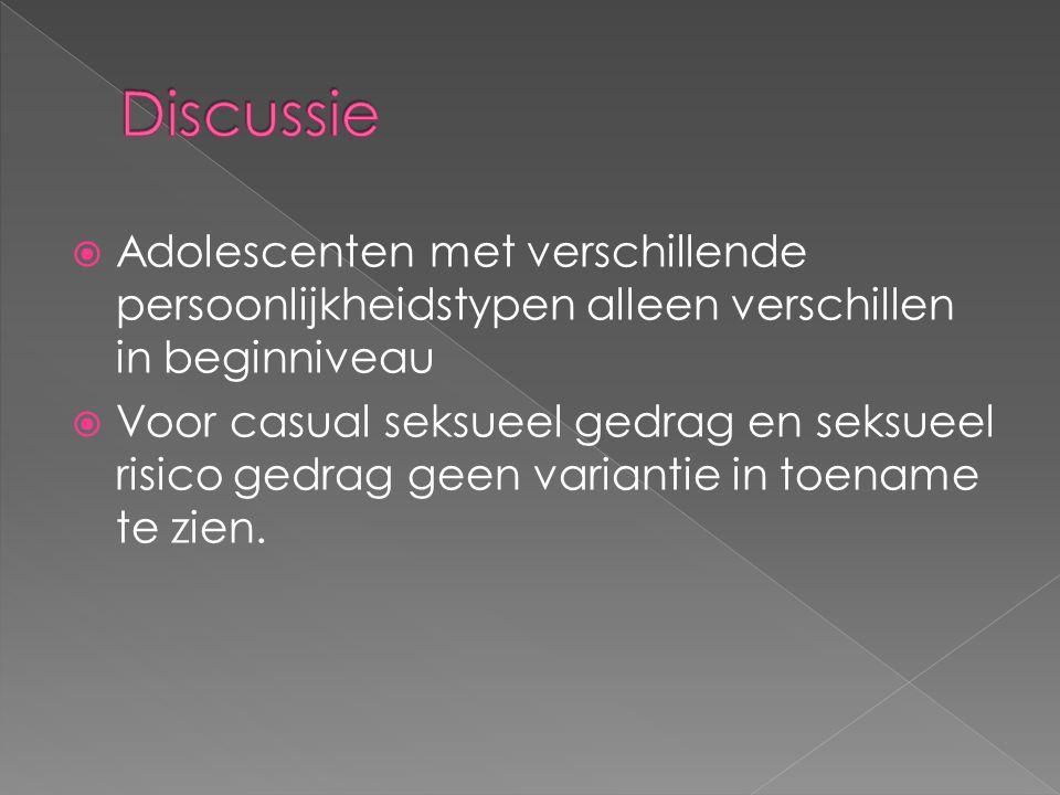  Adolescenten met verschillende persoonlijkheidstypen alleen verschillen in beginniveau  Voor casual seksueel gedrag en seksueel risico gedrag geen