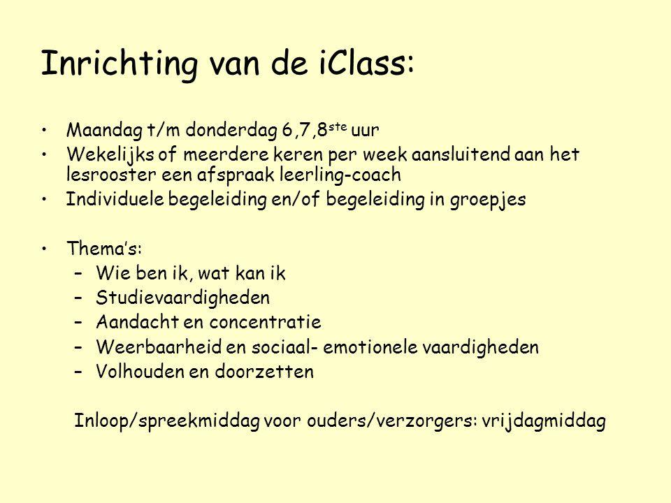 Inrichting van de iClass: Maandag t/m donderdag 6,7,8 ste uur Wekelijks of meerdere keren per week aansluitend aan het lesrooster een afspraak leerlin