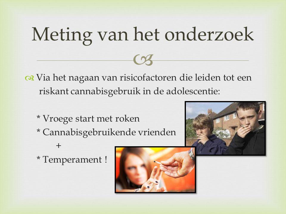   Via het nagaan van risicofactoren die leiden tot een riskant cannabisgebruik in de adolescentie: * Vroege start met roken * Cannabisgebruikende vr