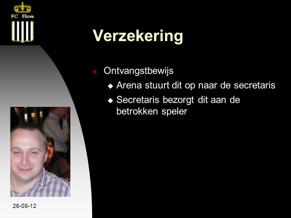 26-09-12 Verzekering Ontvangstbewijs  Arena stuurt dit op naar de secretaris  Secretaris bezorgt dit aan de betrokken speler