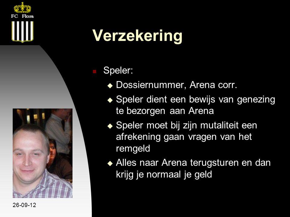 26-09-12 Verzekering Speler:  Dossiernummer, Arena corr.  Speler dient een bewijs van genezing te bezorgen aan Arena  Speler moet bij zijn mutalite