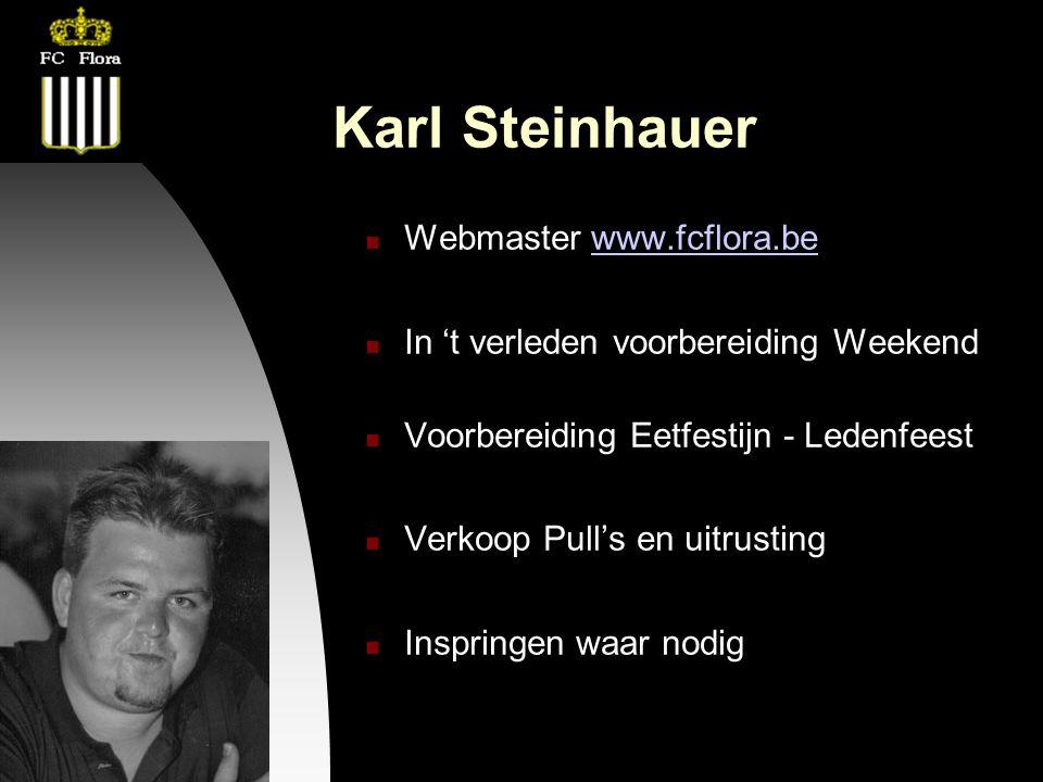 26-09-12 Karl Steinhauer Webmaster www.fcflora.bewww.fcflora.be In 't verleden voorbereiding Weekend Voorbereiding Eetfestijn - Ledenfeest Verkoop Pull's en uitrusting Inspringen waar nodig