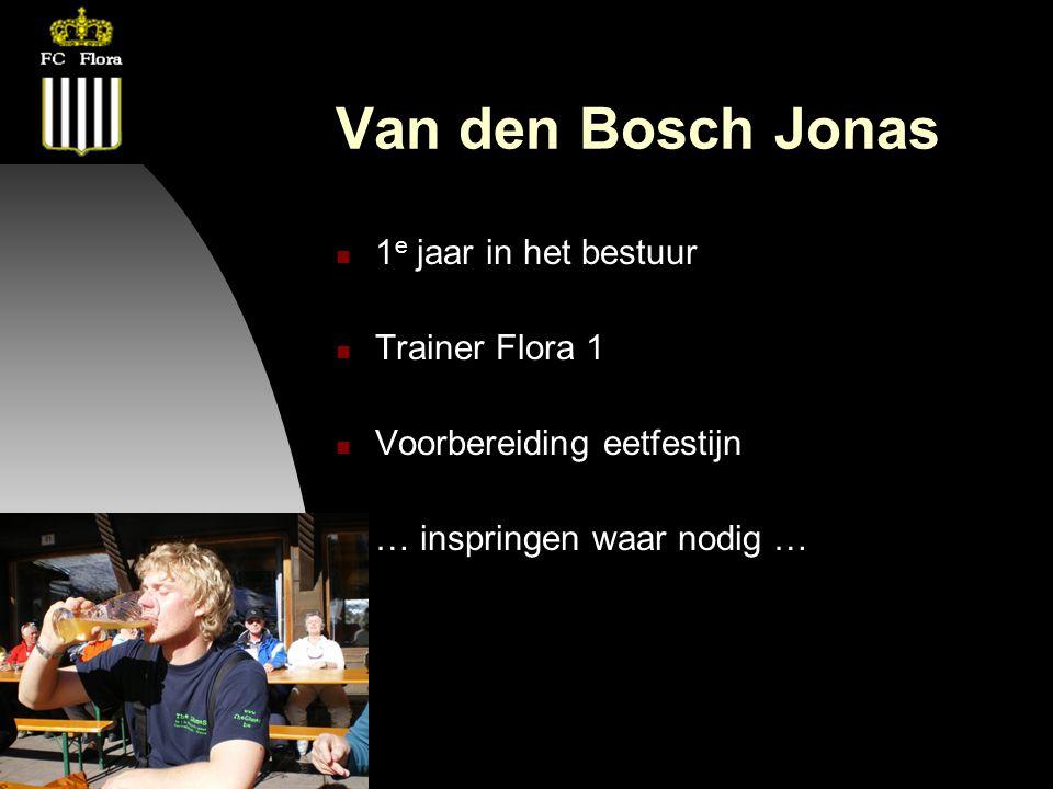 26-09-12 Van den Bosch Jonas 1 e jaar in het bestuur Trainer Flora 1 Voorbereiding eetfestijn … inspringen waar nodig …