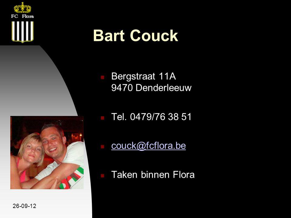 26-09-12 Bart Couck Bergstraat 11A 9470 Denderleeuw Tel. 0479/76 38 51 couck@fcflora.be Taken binnen Flora