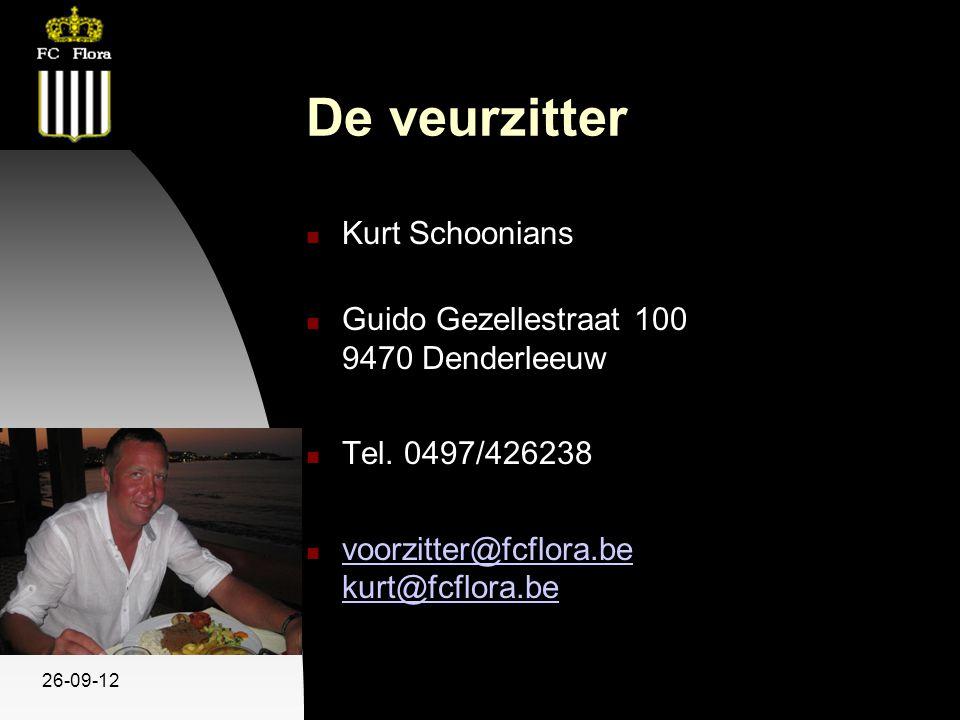 26-09-12 De veurzitter Kurt Schoonians Guido Gezellestraat 100 9470 Denderleeuw Tel. 0497/426238 voorzitter@fcflora.be kurt@fcflora.be voorzitter@fcfl