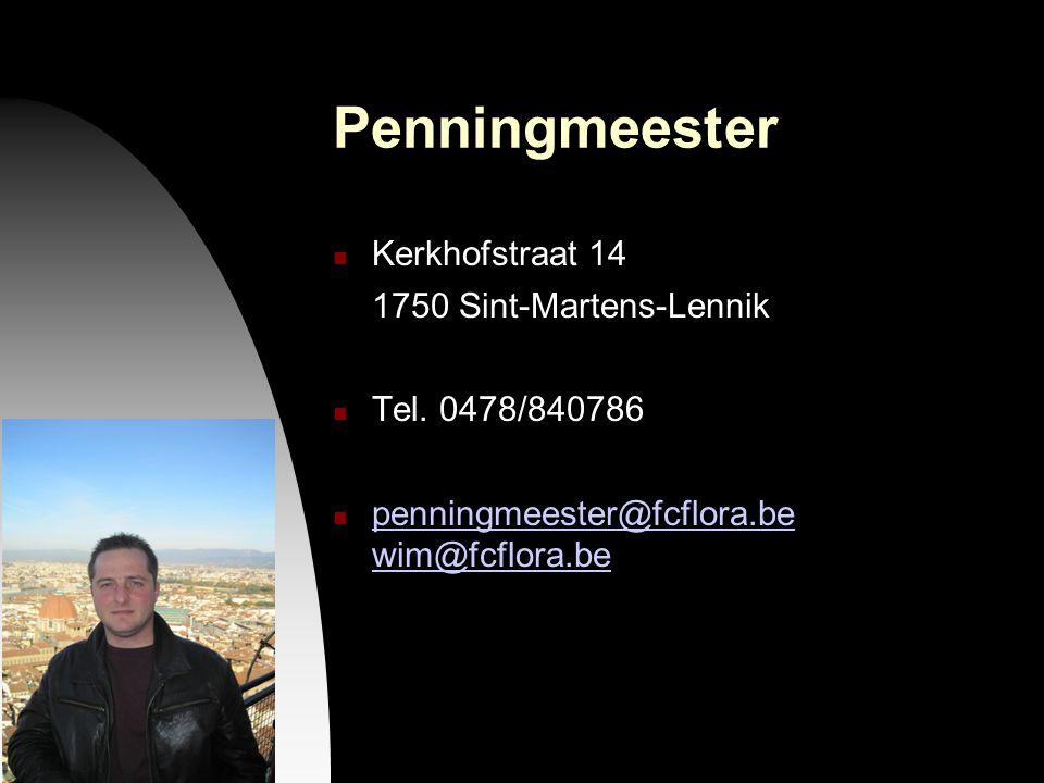 26-09-12 Penningmeester Kerkhofstraat 14 1750 Sint-Martens-Lennik Tel. 0478/840786 penningmeester@fcflora.be wim@fcflora.be penningmeester@fcflora.be