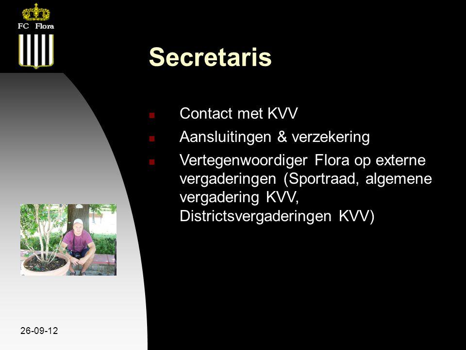 26-09-12 Secretaris Contact met KVV Aansluitingen & verzekering Vertegenwoordiger Flora op externe vergaderingen (Sportraad, algemene vergadering KVV, Districtsvergaderingen KVV)