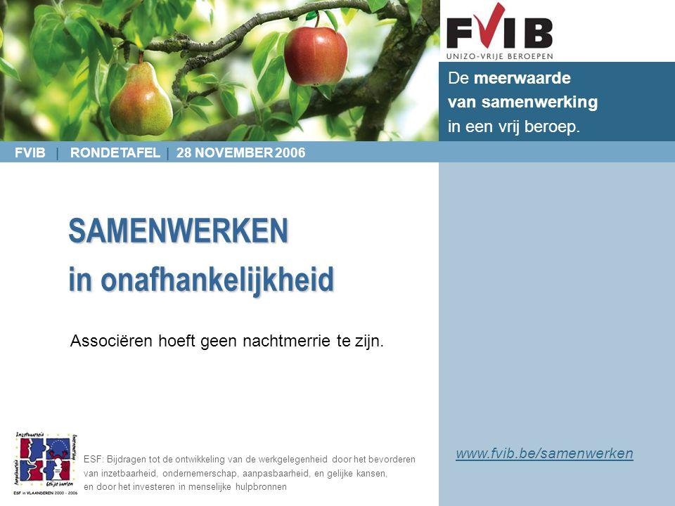 FVIB | RONDETAFEL | 28 NOVEMBER 2006 De meerwaarde van samenwerking in een vrij beroep. ESF: Bijdragen tot de ontwikkeling van de werkgelegenheid door