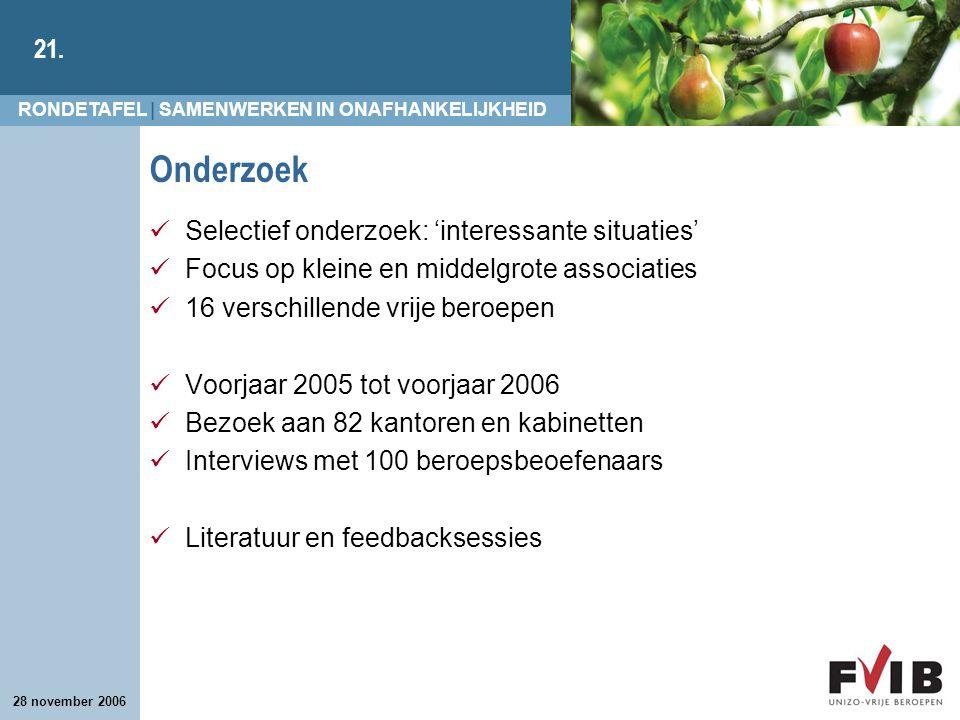 RONDETAFEL | SAMENWERKEN IN ONAFHANKELIJKHEID 21. 28 november 2006 Onderzoek Selectief onderzoek: 'interessante situaties' Focus op kleine en middelgr