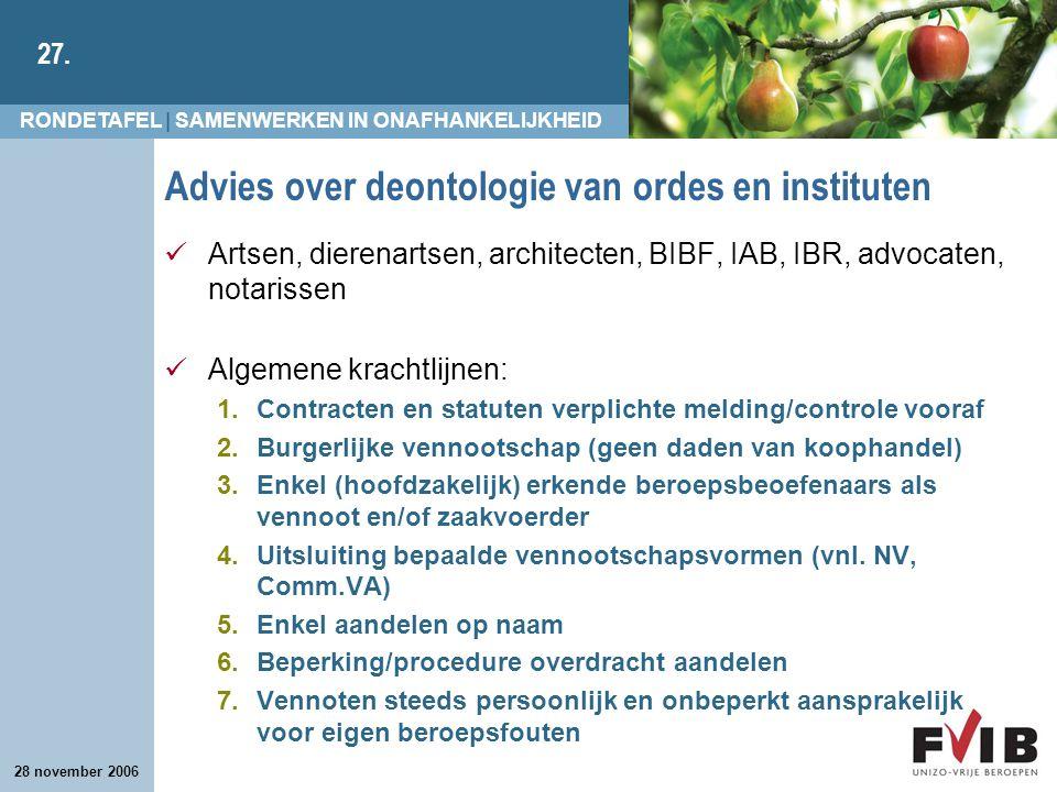 RONDETAFEL | SAMENWERKEN IN ONAFHANKELIJKHEID 27. 28 november 2006 Advies over deontologie van ordes en instituten Artsen, dierenartsen, architecten,