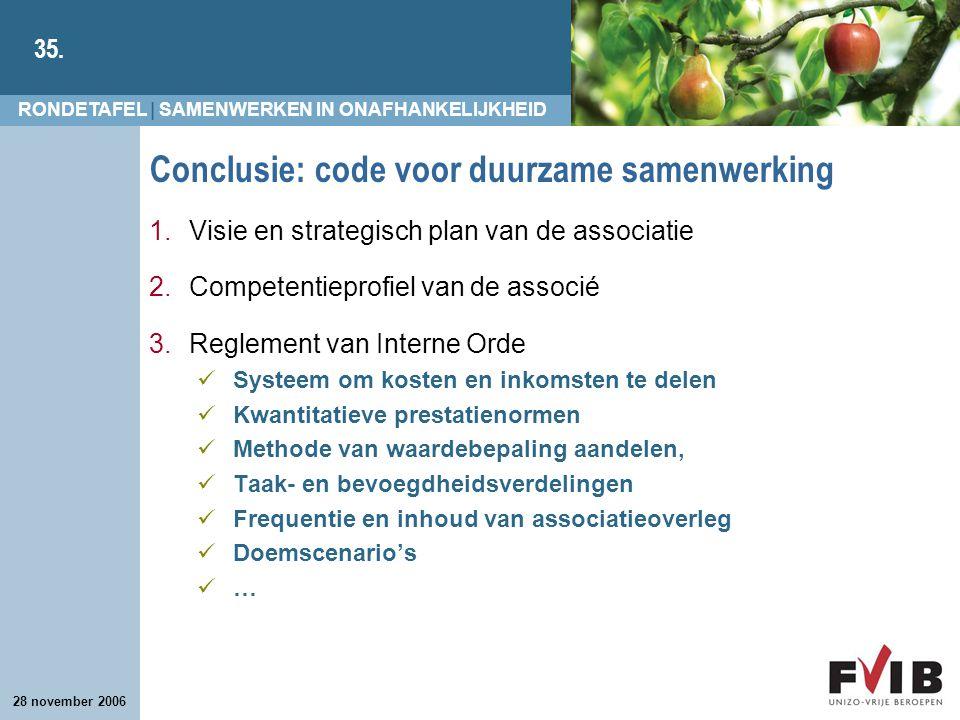 RONDETAFEL | SAMENWERKEN IN ONAFHANKELIJKHEID 35. 28 november 2006 Conclusie: code voor duurzame samenwerking 1.Visie en strategisch plan van de assoc