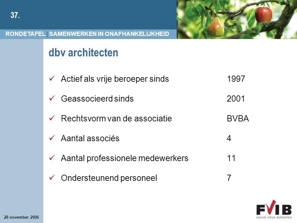 RONDETAFEL | SAMENWERKEN IN ONAFHANKELIJKHEID 37. 28 november 2006 dbv architecten Actief als vrije beroeper sinds 1997 Geassocieerd sinds 2001 Rechts
