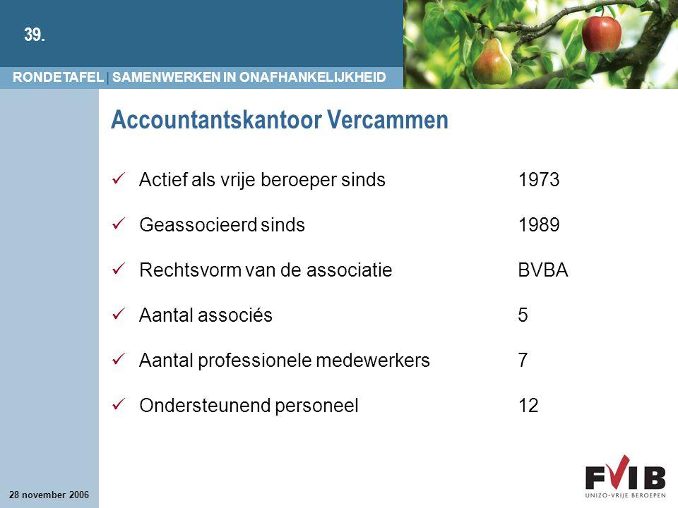 RONDETAFEL | SAMENWERKEN IN ONAFHANKELIJKHEID 39. 28 november 2006 Accountantskantoor Vercammen Actief als vrije beroeper sinds 1973 Geassocieerd sind