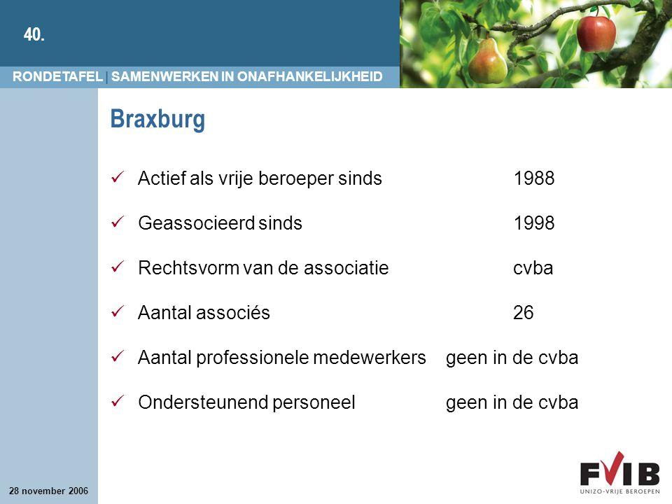 RONDETAFEL | SAMENWERKEN IN ONAFHANKELIJKHEID 40. 28 november 2006 Braxburg Actief als vrije beroeper sinds 1988 Geassocieerd sinds 1998 Rechtsvorm va