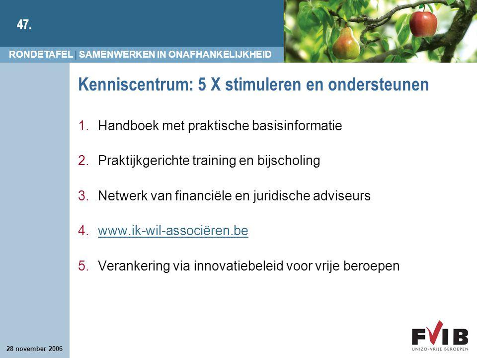 RONDETAFEL | SAMENWERKEN IN ONAFHANKELIJKHEID 47. 28 november 2006 Kenniscentrum: 5 X stimuleren en ondersteunen 1.Handboek met praktische basisinform