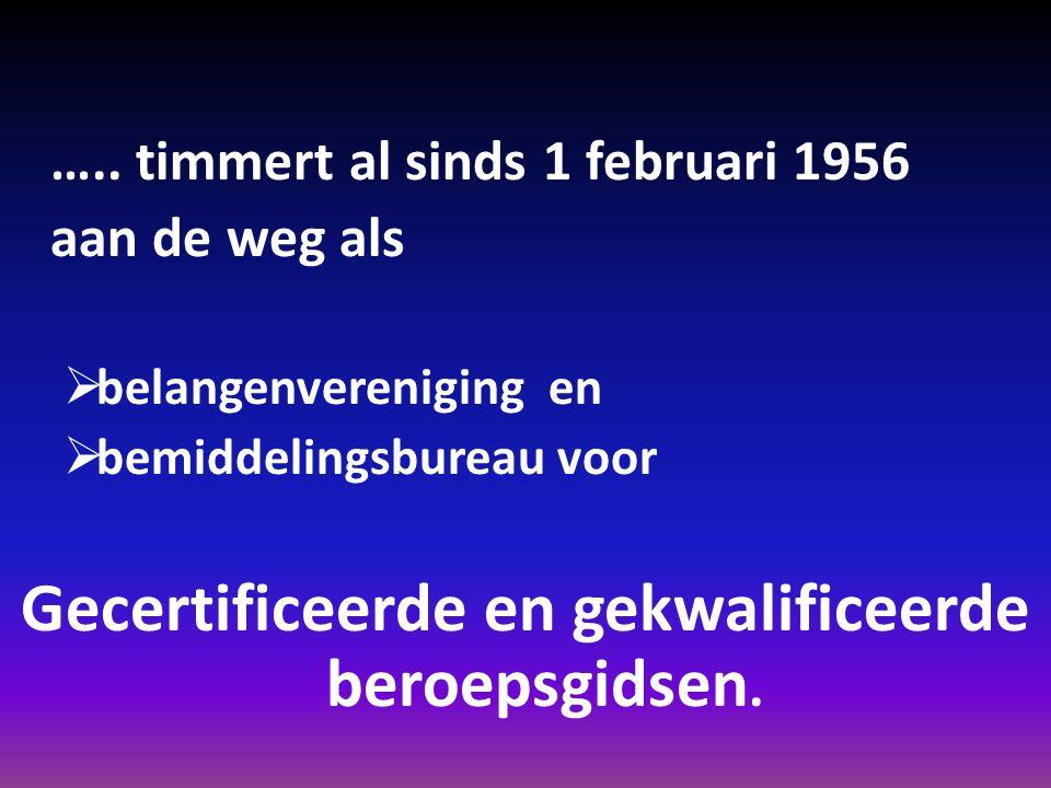 ….. timmert al sinds 1 februari 1956 aan de weg als bbelangenvereniging en bbemiddelingsbureau voor Gecertificeerde en gekwalificeerde beroepsgids