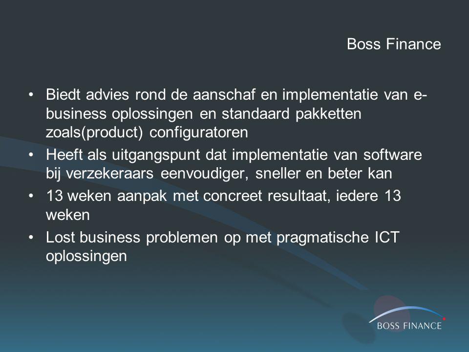 Boss Finance Biedt advies rond de aanschaf en implementatie van e- business oplossingen en standaard pakketten zoals(product) configuratoren Heeft als uitgangspunt dat implementatie van software bij verzekeraars eenvoudiger, sneller en beter kan 13 weken aanpak met concreet resultaat, iedere 13 weken Lost business problemen op met pragmatische ICT oplossingen