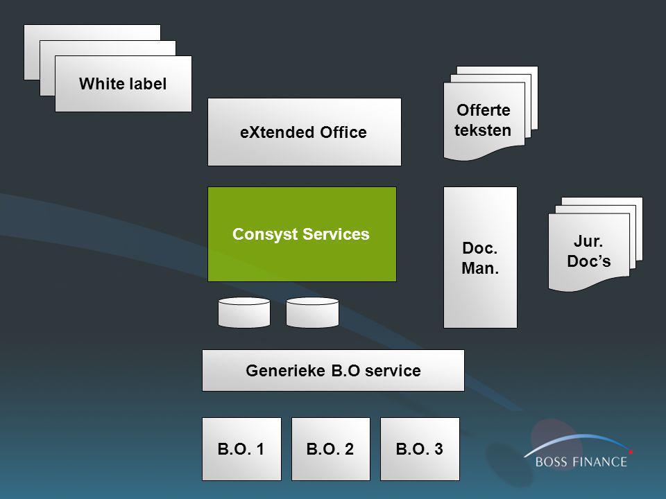 Consyst Services Generieke B.O service B.O. 1B.O. 2B.O. 3 Doc. Man. eXtended Office White label Jur. Doc's Offerte teksten