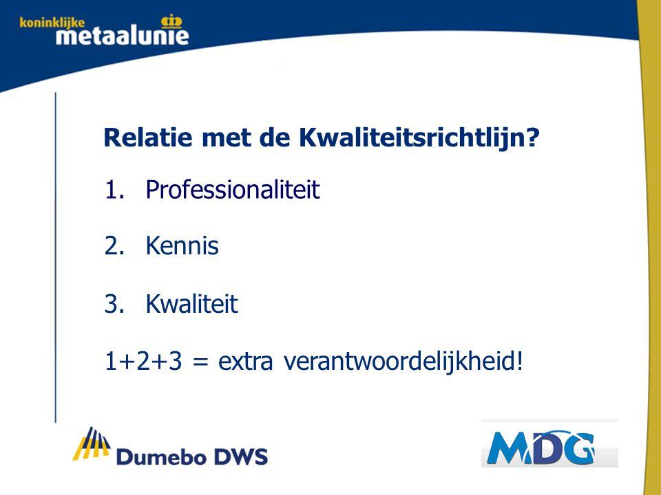 Relatie met de Kwaliteitsrichtlijn.1. Professionaliteit 2.