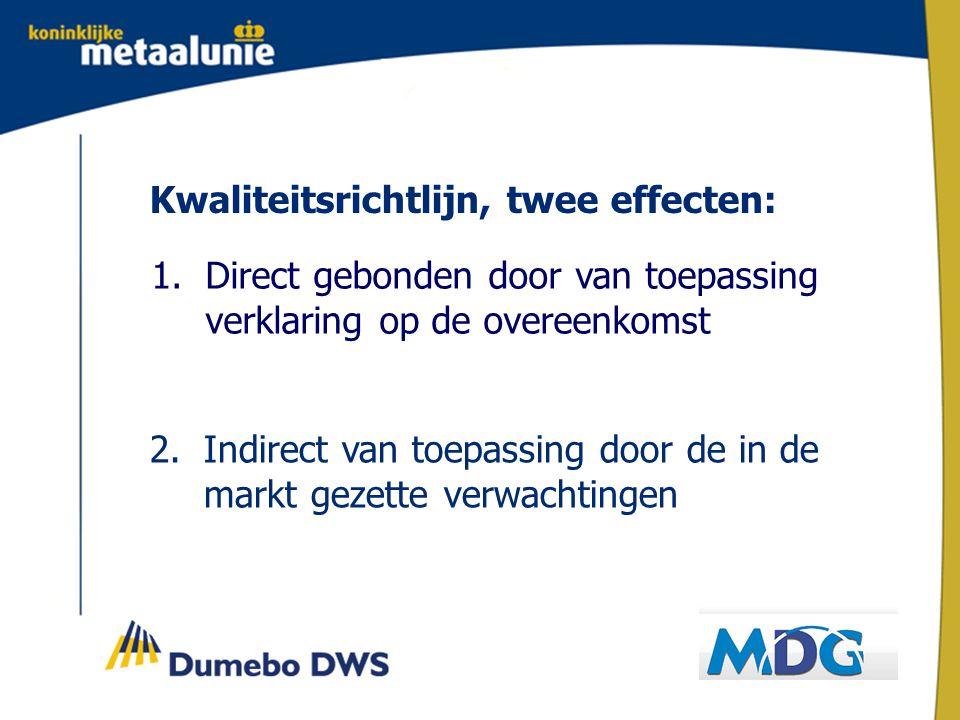 Kwaliteitsrichtlijn, twee effecten: 1.Direct gebonden door van toepassing verklaring op de overeenkomst 2.Indirect van toepassing door de in de markt gezette verwachtingen