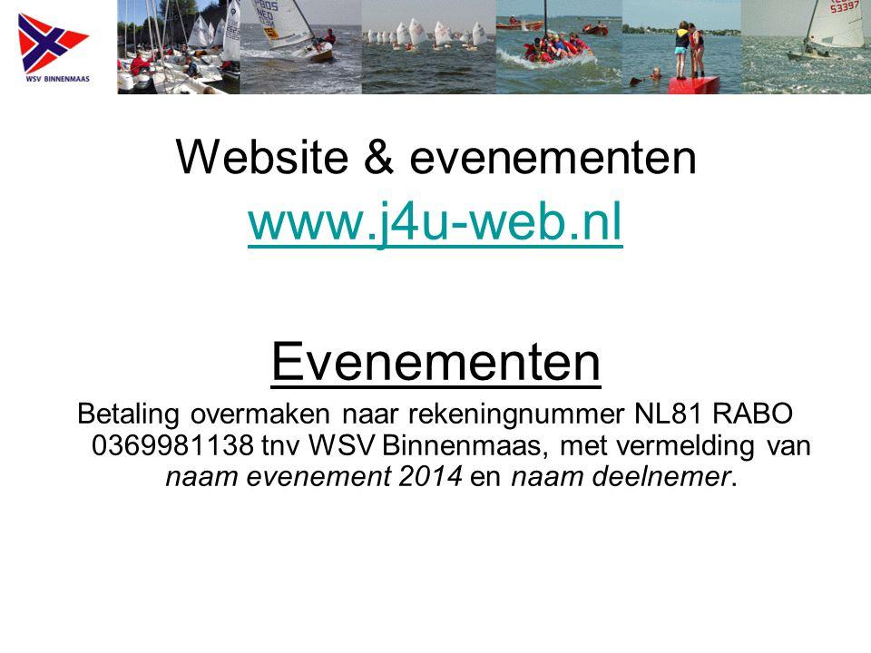 Website & evenementen www.j4u-web.nl Evenementen Betaling overmaken naar rekeningnummer NL81 RABO 0369981138 tnv WSV Binnenmaas, met vermelding van naam evenement 2014 en naam deelnemer.