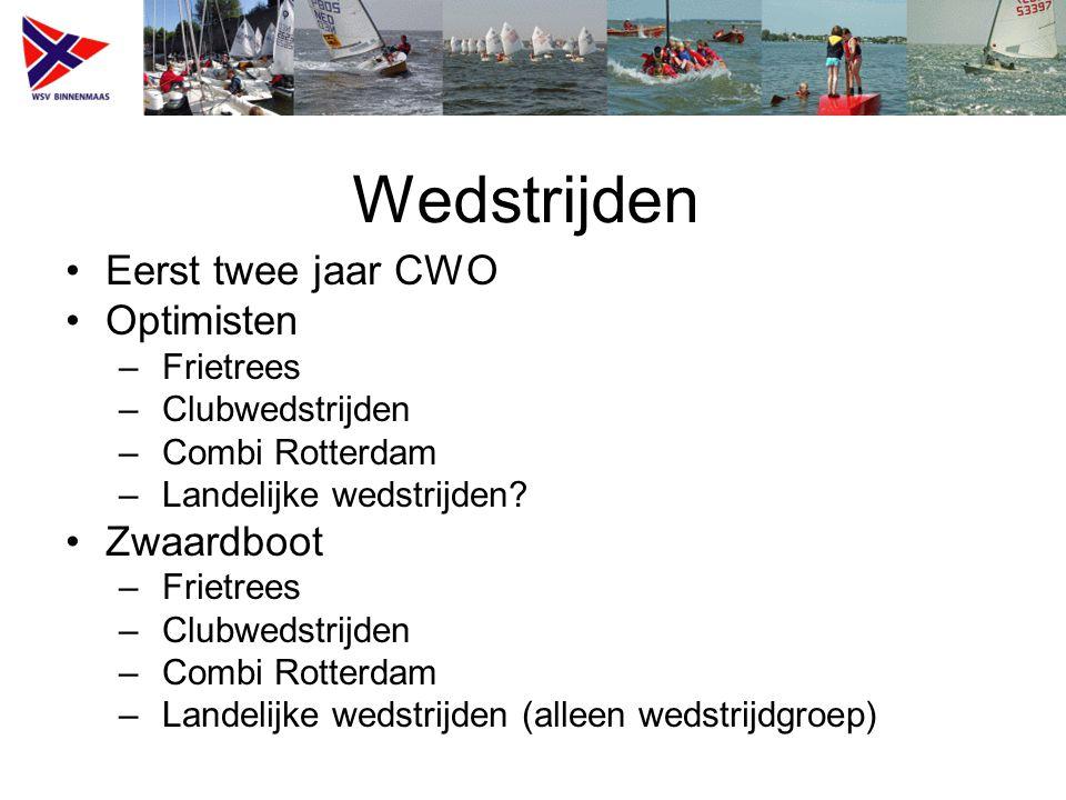 Wedstrijden Eerst twee jaar CWO Optimisten – Frietrees – Clubwedstrijden – Combi Rotterdam – Landelijke wedstrijden.