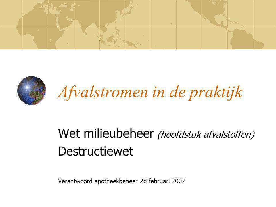 Afvalstromen in de praktijk Wet milieubeheer (hoofdstuk afvalstoffen) Destructiewet Verantwoord apotheekbeheer 28 februari 2007