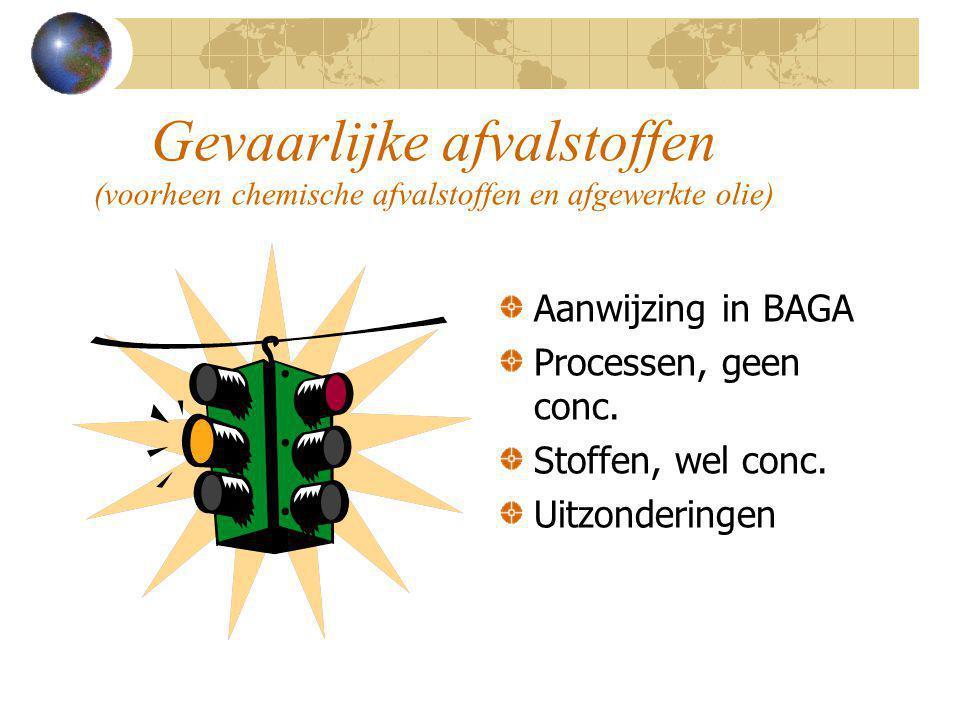 Gevaarlijke afvalstoffen (voorheen chemische afvalstoffen en afgewerkte olie) Aanwijzing in BAGA Processen, geen conc. Stoffen, wel conc. Uitzondering