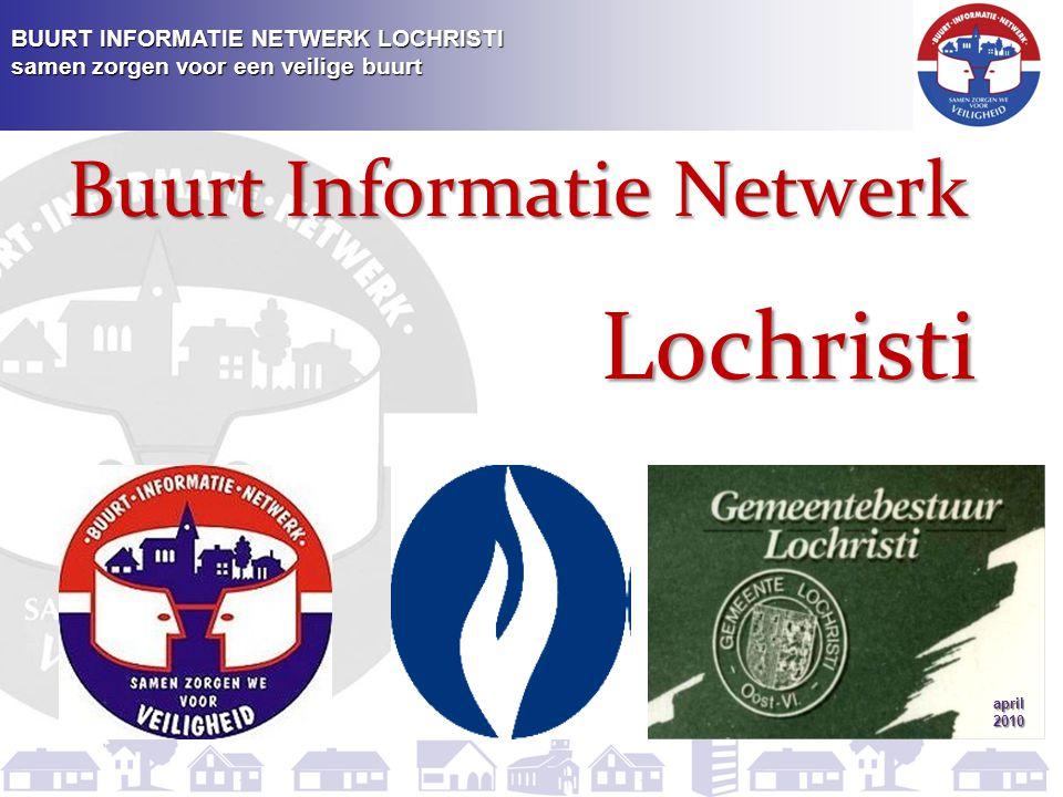 BUURT INFORMATIE NETWERK LOCHRISTI samen zorgen voor een veilige buurt  ieder BIN-lid krijgt een sticker met BIN-logo om aan de brievenbus of voordeur van de woning (winkel) te bevestigen Herkenningspunten van een BIN