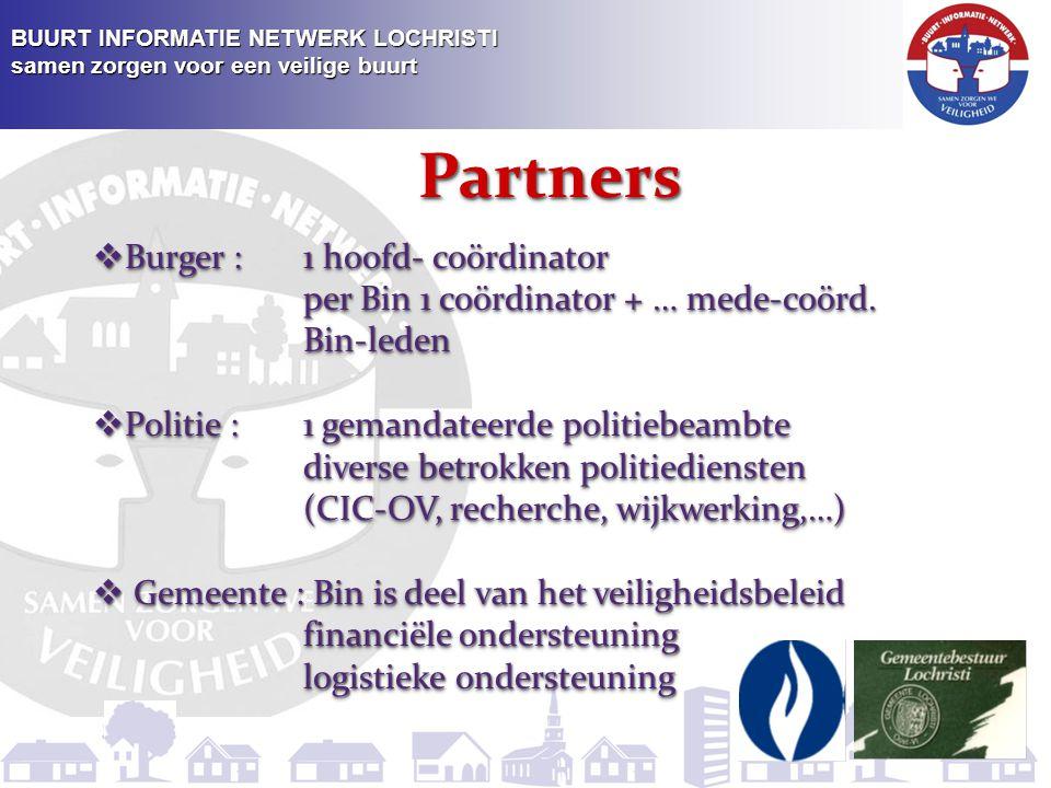 BUURT INFORMATIE NETWERK LOCHRISTI samen zorgen voor een veilige buurt Partners  Politie : De politiediensten worden vertegenwoordigd door een gemandateerde politiebeambte : commissaris Luc Van Peteghem