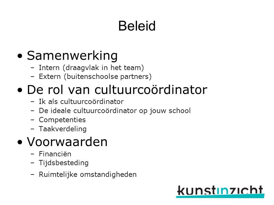Beleid Samenwerking –Intern (draagvlak in het team) –Extern (buitenschoolse partners) De rol van cultuurcoördinator –Ik als cultuurcoördinator –De ide
