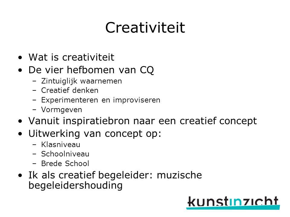 Creativiteit Wat is creativiteit De vier hefbomen van CQ –Zintuiglijk waarnemen –Creatief denken –Experimenteren en improviseren –Vormgeven Vanuit ins
