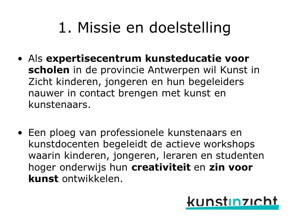 1. Missie en doelstelling Als expertisecentrum kunsteducatie voor scholen in de provincie Antwerpen wil Kunst in Zicht kinderen, jongeren en hun begel