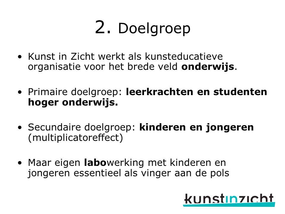 2.Doelgroep Kunst in Zicht werkt als kunsteducatieve organisatie voor het brede veld onderwijs.