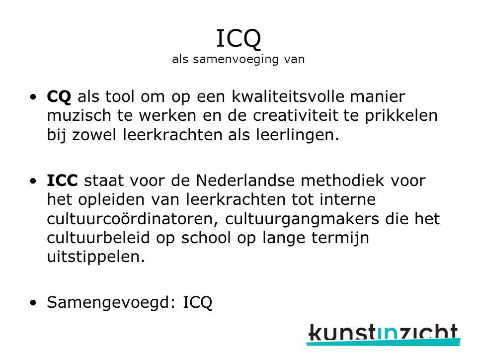 ICQ als samenvoeging van CQ als tool om op een kwaliteitsvolle manier muzisch te werken en de creativiteit te prikkelen bij zowel leerkrachten als leerlingen.