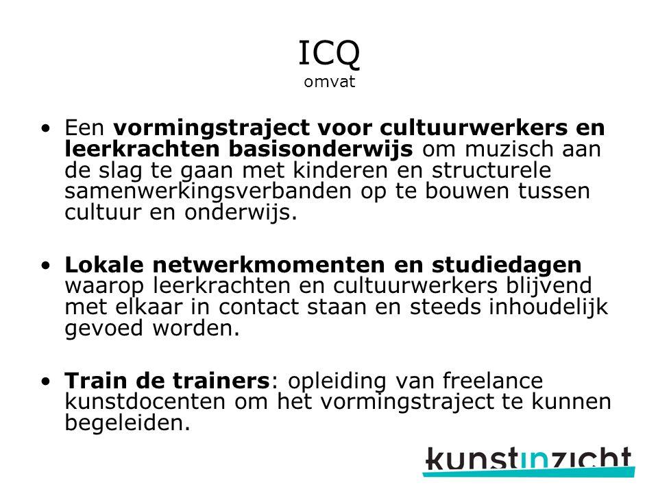 ICQ omvat Een vormingstraject voor cultuurwerkers en leerkrachten basisonderwijs om muzisch aan de slag te gaan met kinderen en structurele samenwerkingsverbanden op te bouwen tussen cultuur en onderwijs.