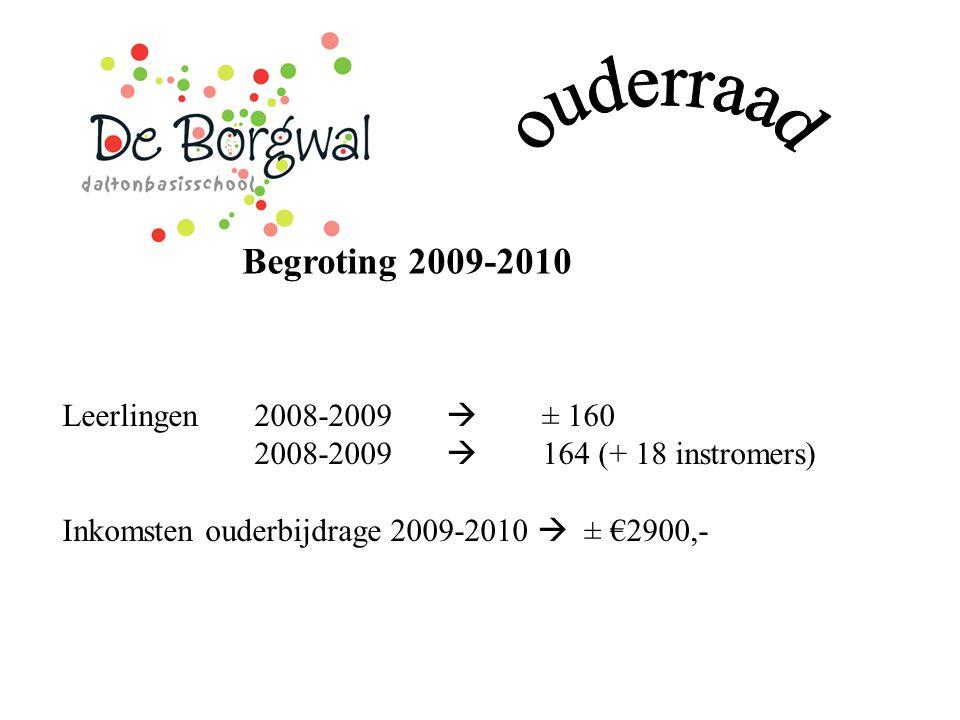 Begroting 2009-2010 Leerlingen 2008-2009  ± 160 2008-2009  164 (+ 18 instromers) Inkomsten ouderbijdrage 2009-2010  ± €2900,-