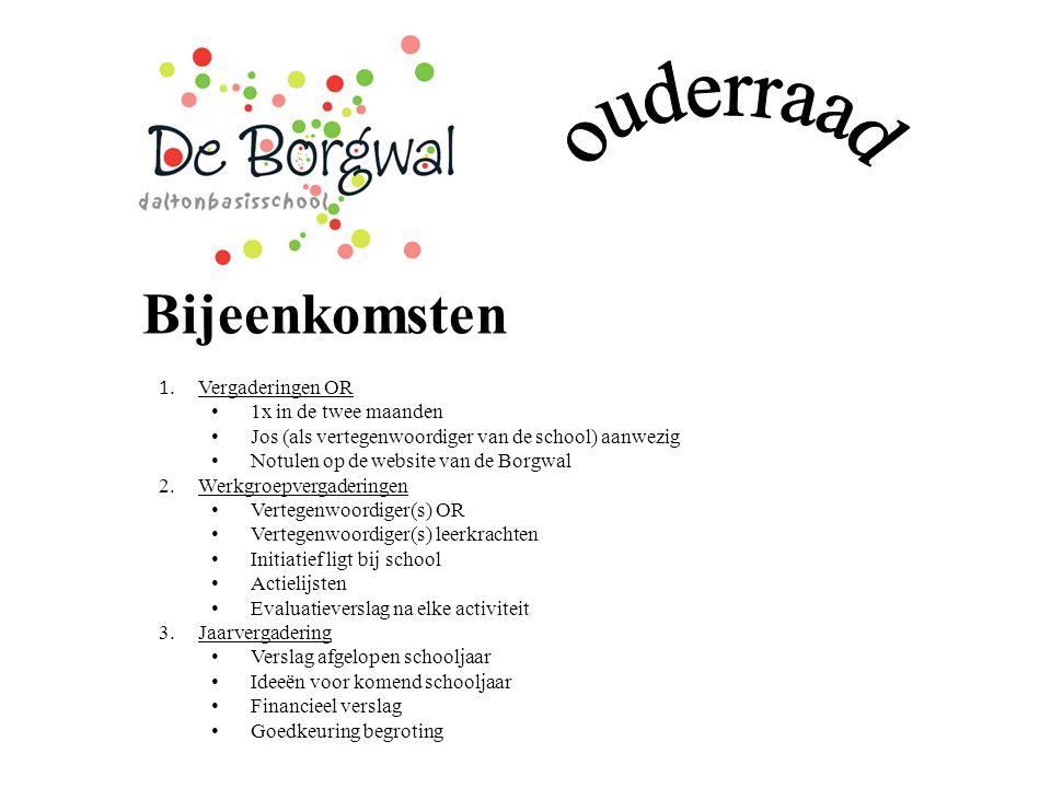 Bijeenkomsten 1. Vergaderingen OR 1x in de twee maanden Jos (als vertegenwoordiger van de school) aanwezig Notulen op de website van de Borgwal 2.Werk