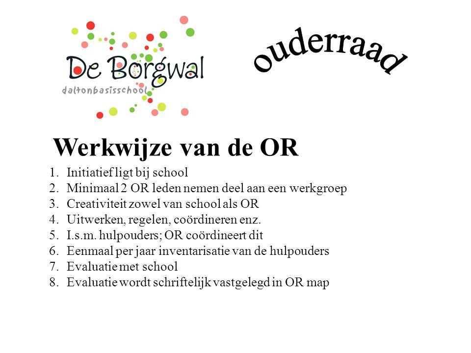 Werkwijze van de OR 1.Initiatief ligt bij school 2.Minimaal 2 OR leden nemen deel aan een werkgroep 3.Creativiteit zowel van school als OR 4.Uitwerken