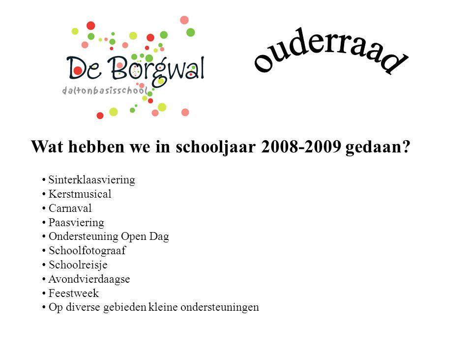 Wat hebben we in schooljaar 2008-2009 gedaan? Sinterklaasviering Kerstmusical Carnaval Paasviering Ondersteuning Open Dag Schoolfotograaf Schoolreisje