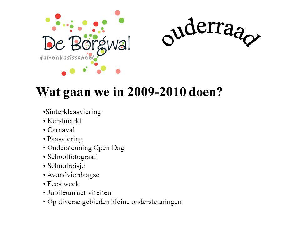 Wat gaan we in 2009-2010 doen? Sinterklaasviering Kerstmarkt Carnaval Paasviering Ondersteuning Open Dag Schoolfotograaf Schoolreisje Avondvierdaagse