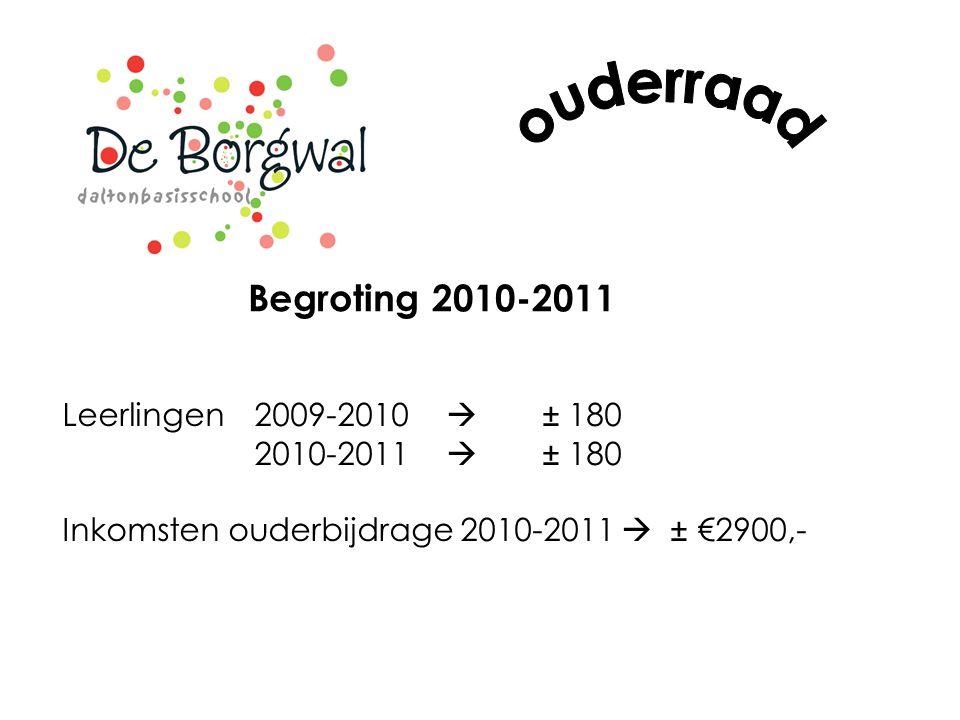 Begroting 2010-2011 Leerlingen 2009-2010  ± 180 2010-2011  ± 180 Inkomsten ouderbijdrage 2010-2011  ± €2900,-