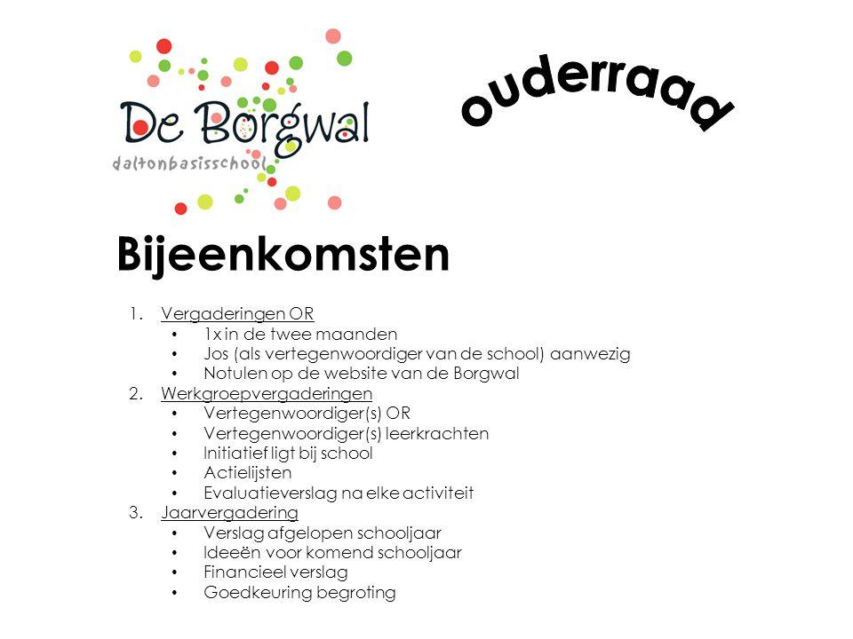 Bijeenkomsten 1.Vergaderingen OR 1x in de twee maanden Jos (als vertegenwoordiger van de school) aanwezig Notulen op de website van de Borgwal 2.Werkg