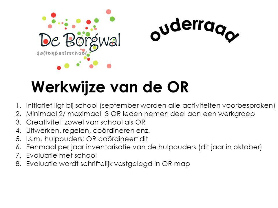 Werkwijze van de OR 1.Initiatief ligt bij school (september worden alle activiteiten voorbesproken) 2.Minimaal 2/ maximaal 3 OR leden nemen deel aan e