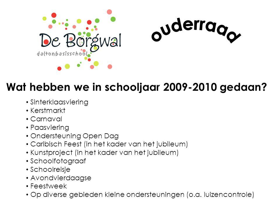 Wat hebben we in schooljaar 2009-2010 gedaan? Sinterklaasviering Kerstmarkt Carnaval Paasviering Ondersteuning Open Dag Caribisch Feest (in het kader